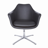Euro Style Giovana Lounge Chair in Dark Gray and Polished Aluminum