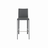 Euro Style Hasina Bar Stool, Gray With Polished Stainless Steel Legs, Set of 2