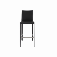 Euro Style Hasina Bar Stool in Black/Polished Stainless Steel Legs, Set of 2