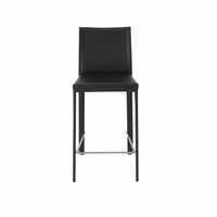 Euro Style Hasina Counter Stool in Black With Stainless Steel Legs, Set of 2