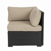Euro Style Hector Corner Sofa Unit in Taupe and Black