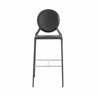 Euro Style Isabella Bar Stool in Black With Chrome Foot Rest, Set of 2