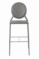 Euro Style Isabella Bar Stool in Gray With Chrome Foot Rest, Set of 2