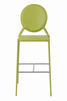 Euro Style Isabella Bar Stool in Green With Chrome Foot Rest, Set of 2