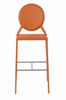 Euro Style Isabella Bar Stool in Orange With Chrome Foot Rest, Set of 2