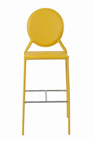 Euro Style Isabella Bar Stool in Yellow With Chrome Foot Rest, Set of 2