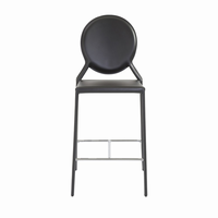 Euro Style Isabella Counter Stool in Black With Chrome Foot Rest, Set of 2