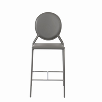 Euro Style Isabella Counter Stool in Gray With Chrome Foot Rest, Set of 2