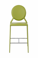 Euro Style Isabella Counter Stool in Green With Chrome Foot Rest, Set of 2