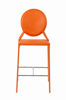 Euro Style Isabella Counter Stool in Orange With Chrome Foot Rest, Set of 2
