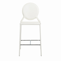 Euro Style Isabella Counter Stool in White With Chrome Foot Rest, Set of 2