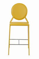 Euro Style Isabella Counter Stool in Yellow With Chrome Foot Rest, Set of 2