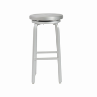 Euro Style Miller Swivel Bar Stool in Matte Aluminum