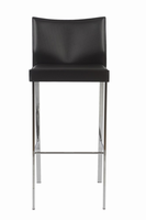 Euro Style Riley Bar Stool in Black With Chrome Legs, Set of 2