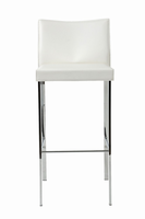 Euro Style Riley Bar Stool in White With Chrome Legs, Set of 2