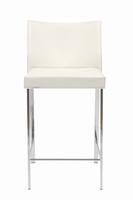 Euro Style Riley Counter Stool in White With Chrome Legs, Set of 2