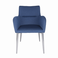 Euro Style Samantha Arm Chair in Blue and Brushed Stainless Steel