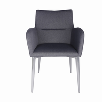 Euro Style Samantha Arm Chair in Dark Gray and Brushed Stainless Steel
