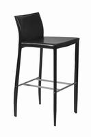 Euro Style Shen Bar Stool in Black With Chrome Footrest, Set of 2