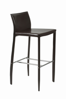 Euro Style Shen Bar Stool in Brown With Chrome Footrest, Set of 2