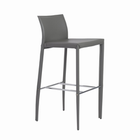 Euro Style Shen Bar Stool in Gray With Chrome Footrest, Set of 2