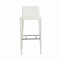 Euro Style Shen Bar Stool in White With Chrome Footrest, Set of 2