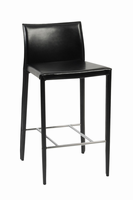 Euro Style Shen Counter Stool in Black With Chrome Footrest, Set of 2