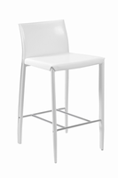 Euro Style Shen Counter Stool in White With Chrome Footrest, Set of 2