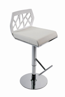 Euro Style Sophia Adjustable Swivel Bar/Counter Stool in White With Chrome Base