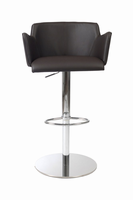 Euro Style Sunny Adjustable Swivel Bar/Counter Stool in Brown With Chrome Base