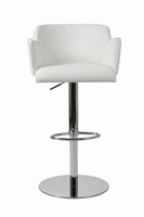 Euro Style Sunny Adjustable Swivel Bar/Counter Stool in White With Chrome Base