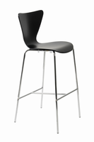 Euro Style Tendy Bar Stool in Black With Chrome Legs, Set of 2