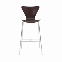 Euro Style Tendy Bar Stool in Wenge With Chrome Legs, Set of 2