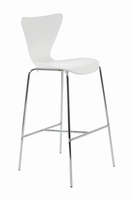 Euro Style Tendy Bar Stool in White With Chrome Legs, Set of 2