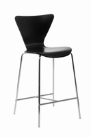 Euro Style Tendy Counter Stool in Black With Chrome Legs, Set of 2
