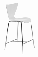 Euro Style Tendy Counter Stool in White With Chrome Legs, Set of 2