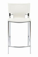 Euro Style Vinnie Counter Stool in White With Chrome Legs, Set of 2