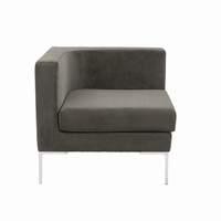 Euro Style Vittorio Sofa With Arm Rests in Dark Gray