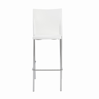 Euro Style Yeva Stackable Bar Stool in White With Chrome Legs, Set of 4