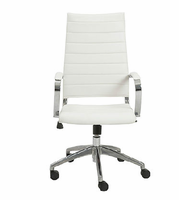 Eurostyle Axel White/Aluminum High Back Office Chair