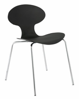 Eurostyle Becky Black/Chrome Stack Chair (Set of 4)