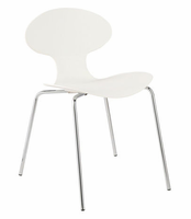 Eurostyle Becky White/Chrome Stack Chair (set of 4)