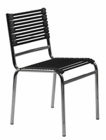 Eurostyle Bungie-S Flat Black/Chrome Stacking Chair (set of 4)