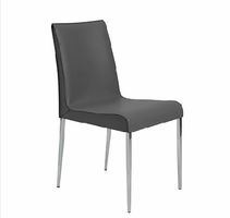 Eurostyle Cam Gray/Chrome Side Chair (Set of 2)