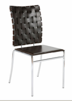 Eurostyle Carina Leather Brown/Chrome Stacking Chair (set of 4)