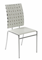 Eurostyle Carina Leather White/Chrome Stacking Chair (set of 4)