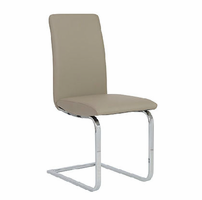 Eurostyle Cinzia Taupe/ Chrome Side Chair (Set of 2)