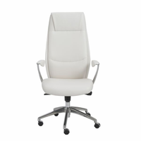 Eurostyle Crosby White/Aluminum High Back Office Chair