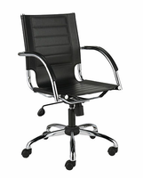 Eurostyle Dave Leather Black/Chrome Office Chair