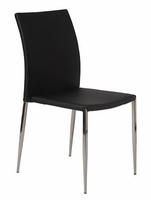 Eurostyle Diana Black/Stainless Steel Stacking Chair (set of 4)